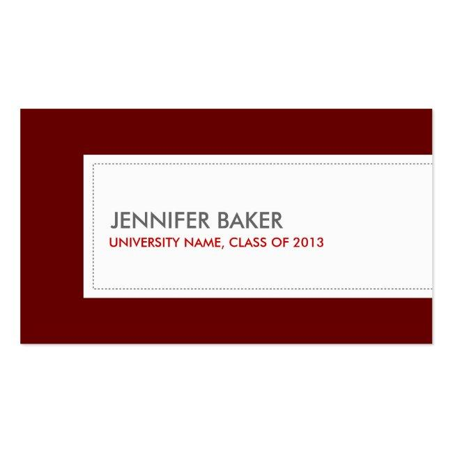 University/college Student Deep Red Calling Card