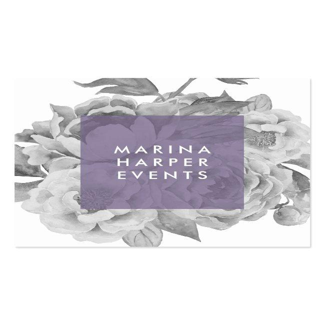 Vintage Floral Square Business Cards | Lilac