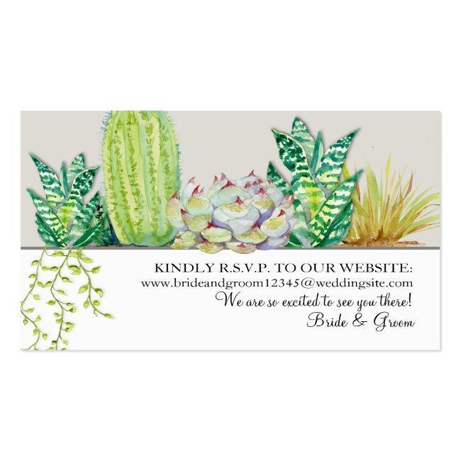 Wedding Website Rsvp Rustic Western Desert Cactus Business Card