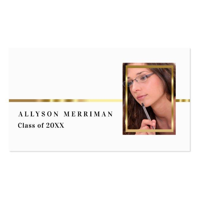White | Gold Graduation Photo Insert Name Cards