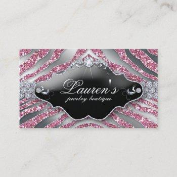 232 jewelry zebra business card sparkle pink sb