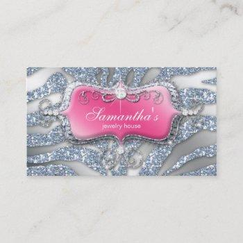232 sparkle jewelry zebra pink silver business card