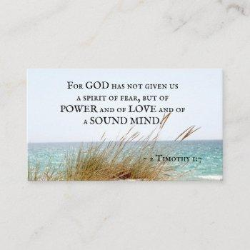 2 timothy 1:7 god has not given a spirit of fear, business card
