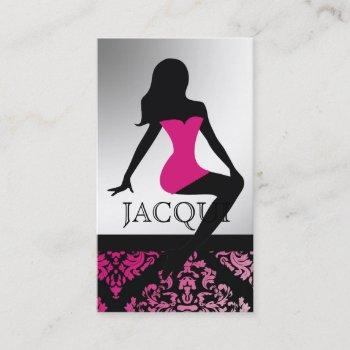 311-bombshell silhouette zebra - luxuriously pink business card