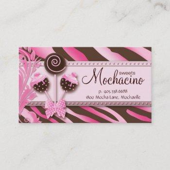 311 cake pops business card bakery pink brwn zebra