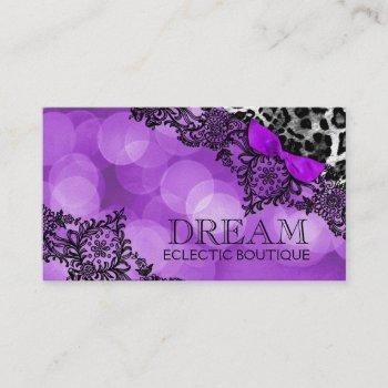 311 dream in leopard and lace violet pearl paper business card