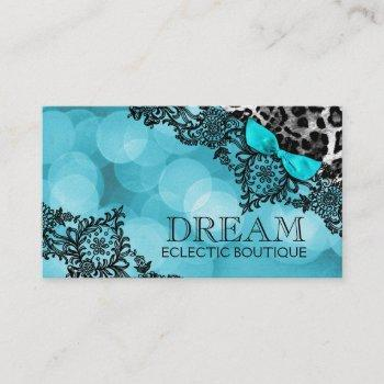 311 dream in leopard & lace aqua pearl paper business card