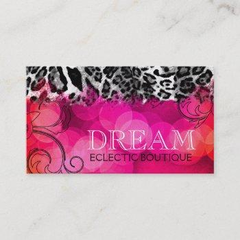 311 dream in lights pink leopard business card