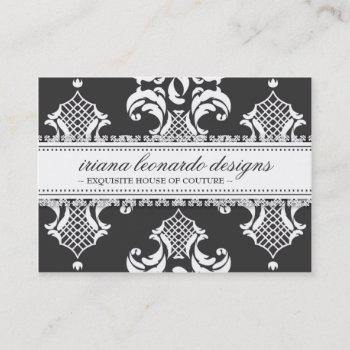 311 iriana damask chubby charcoal business card