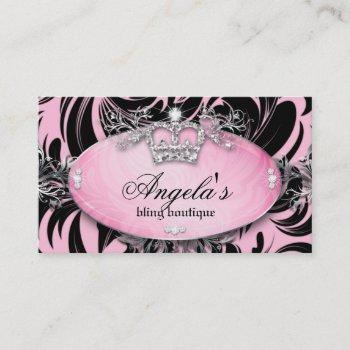 311 zebra business card jewelry crown pink