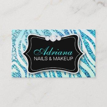 311 zebra glitter aqua business card