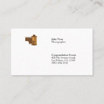 35mm film roll photographer minimal business card