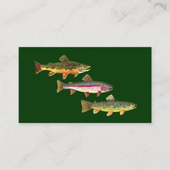 3 trout for fly fishing fishermen and fisherwomen business card