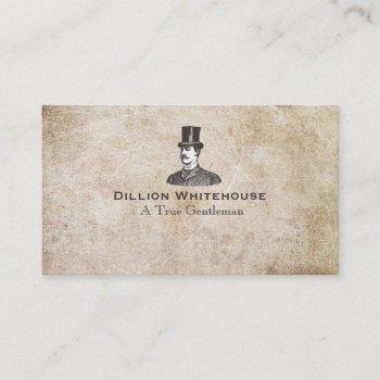 a true gentleman in top hat aged grunge look business card