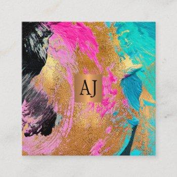 abstract acrylic paint copper gold glam monogram square business card