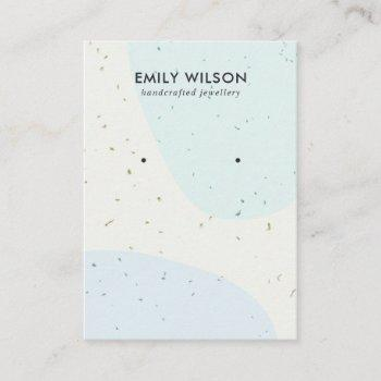 abstract ceramic blue wave stud earring display business card