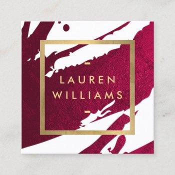 abstract deep ruby red brushstrokes square business card