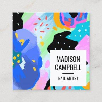 abstract floral nail artist salon brushstrokes art square business card