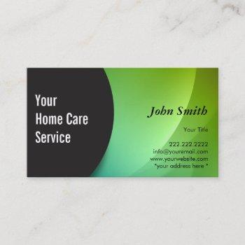 abstract green home nursing care businss card