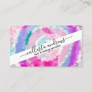 abstract modern girly pink white tie dye paint business card