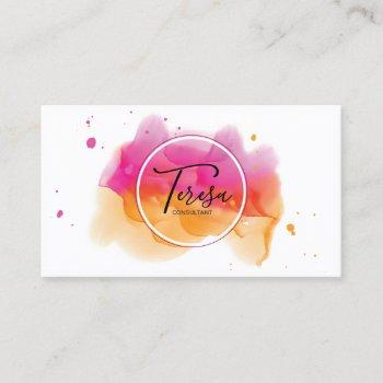 abstract paint splash rose/orange id566 business card