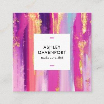 abstract pink and gold glitter brushstrokes makeup square business card