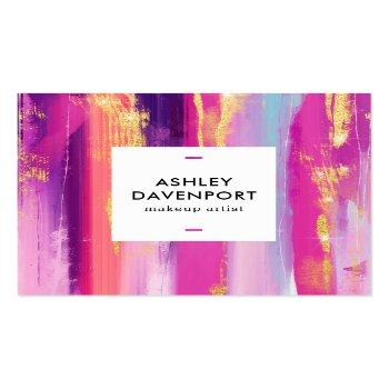 Small Abstract Pink And Gold Glitter Brushstrokes Makeup Square Business Card Front View