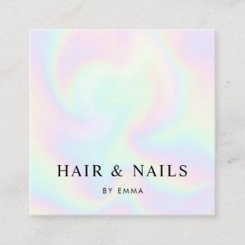 abstract rainbow swirls hair stylist & nail tech square business card