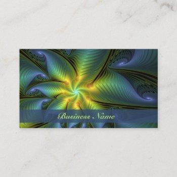 abstract star, shiny blue green golden fractal art business card