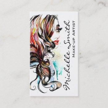 abstract watercolor ink colorful woman makeup business card