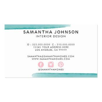 Small Abstract Watercolor Pink Yellow Blue Design Business Card Back View