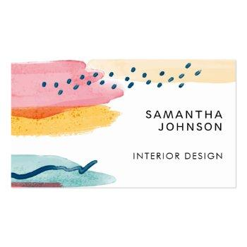 Small Abstract Watercolor Pink Yellow Blue Design Business Card Front View