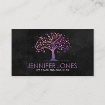 abstract watercolor tree violet purple business card