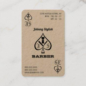 ace of barbers kraft business card