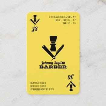 ace of barbers yellow black business card