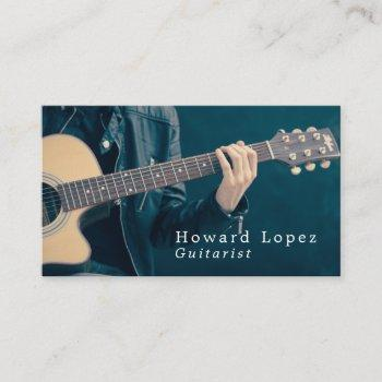 acoustic guitar player, musician, music industry business card