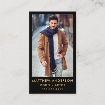 actor model color photo business card - gold black