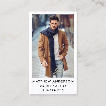 actor model color photo business card - wht