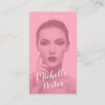 actor models headshot photo modern pink overlay business card