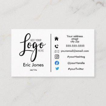 add logo custom business logo and social media business card
