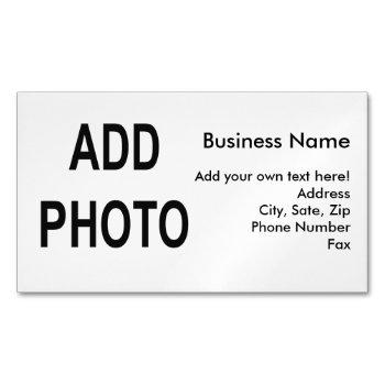 add logo or photo, business information business card magnet