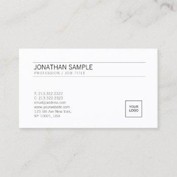 add your logo elegant white simple professional business card