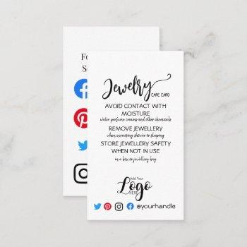 add your logo jewellery care cards uk