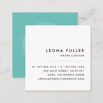 add your logo | modern black, white and aqua square business card