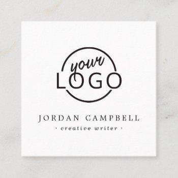 add your logo modern white minimalist square business card