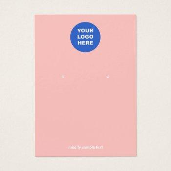 add your logo  pink peach earring display card