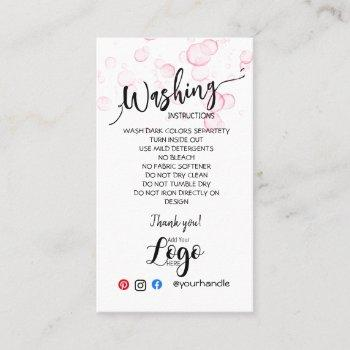 add your logo washing instructions care cards