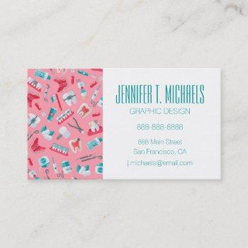 add your name   pink dental pattern business card