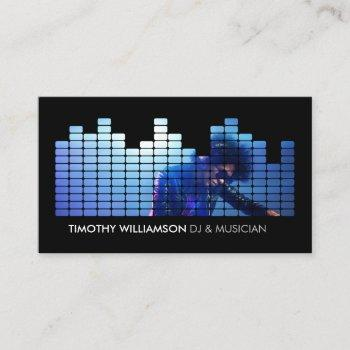 add your photo equalizer djs, musicians business card