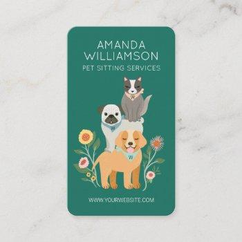 adorable floral dog & cat pet care services green business card